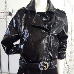 Forever21💖 Black Patent Bomber Jacket